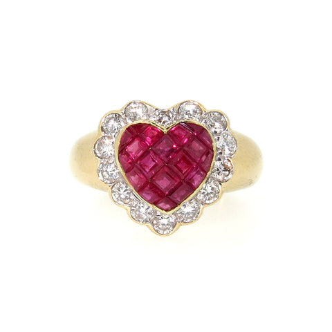 "Ruby ""Heart"" Engagement/Anniversary Ring, Gemstone Engagement Ring, Alternative Engagement Ring, Cocktail Ring"