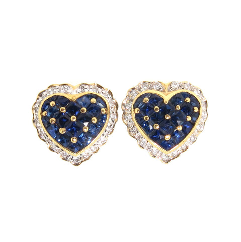 Heart-Shaped Blue Sapphire Earrings