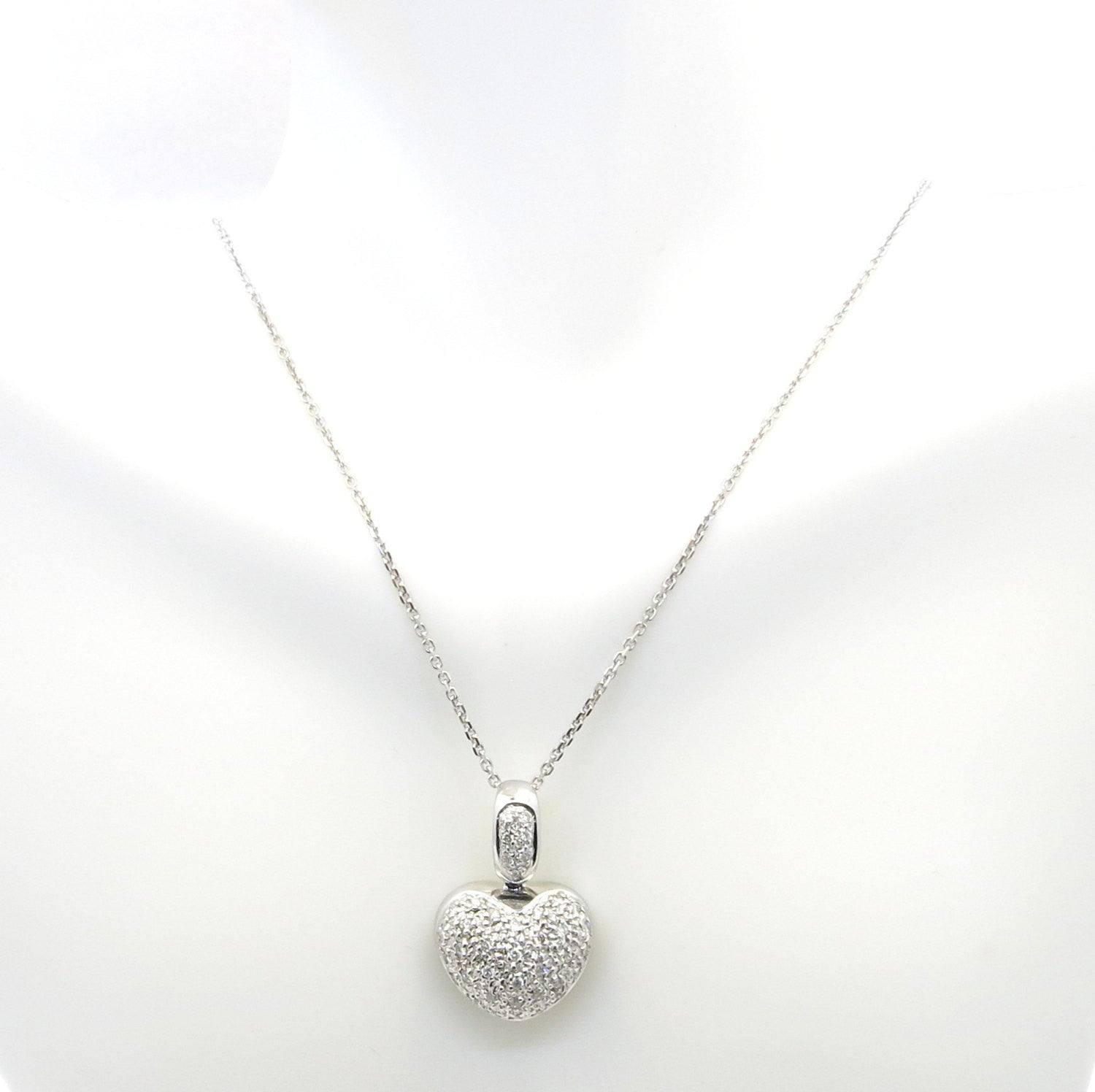 Diamond Heart Necklace/Pendant, 14k White Gold