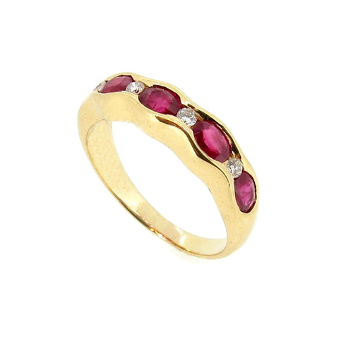 Ruby & Diamond Wedding Band, 18K Yellow Gold