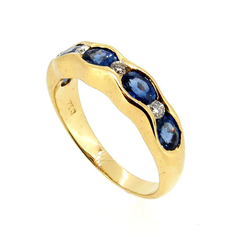 Blue Sapphire & Diamond Wedding Band