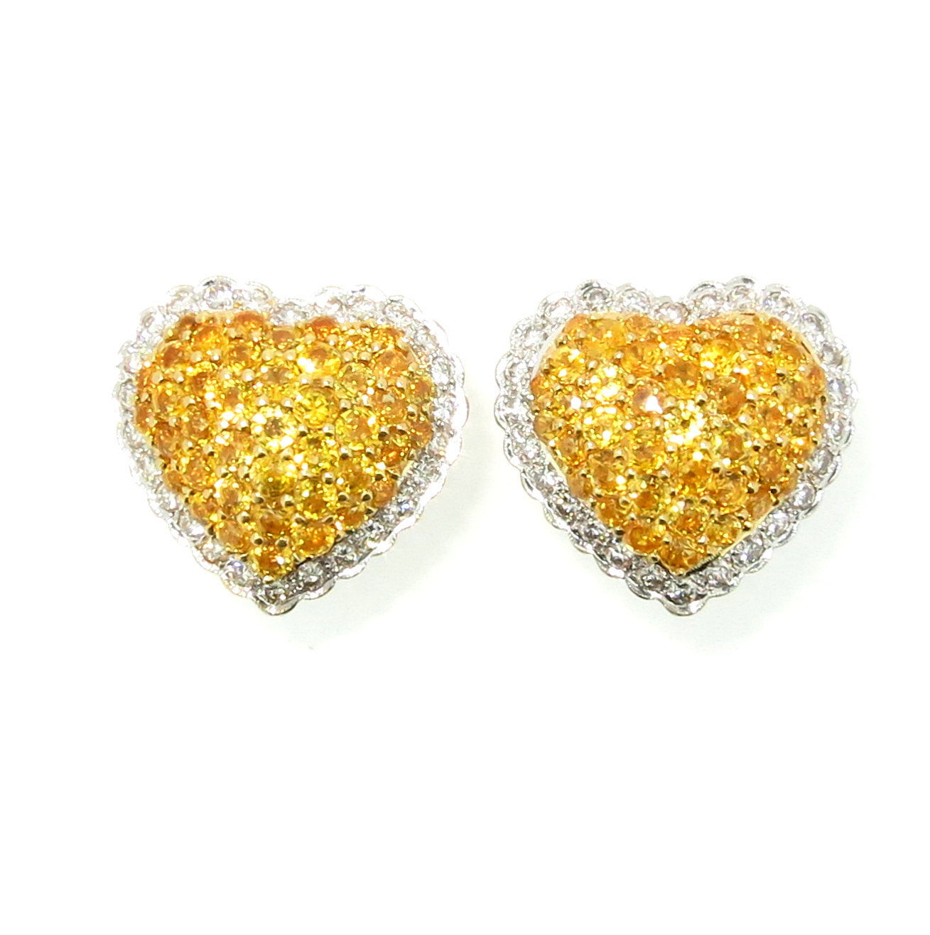 "Yellow Sapphire Gemstone & Diamond ""Heart"" Earrings"