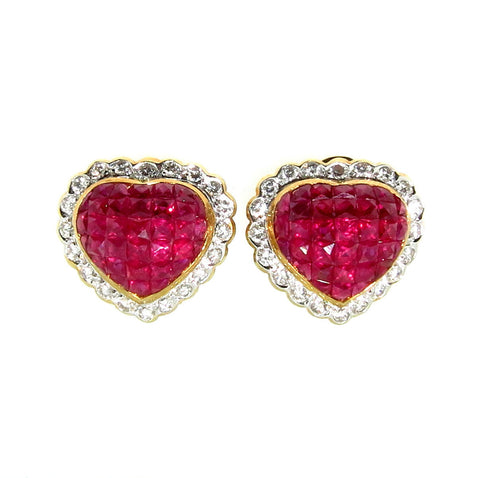 "Ruby Gemstone ""Heart"" Earrings, Invisible Setting"