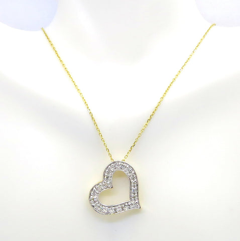 Diamond Heart Necklace/pendant,  18k Yellow Gold