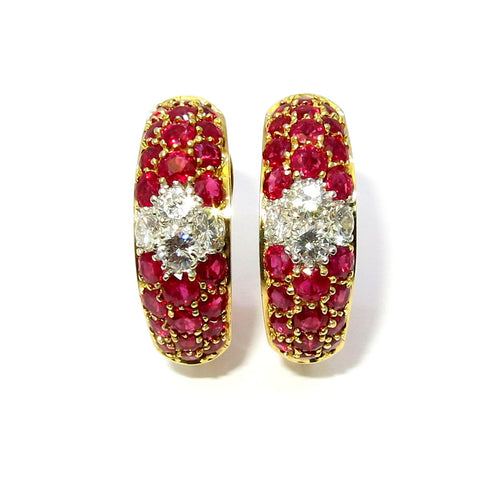 Ruby Gemstone Huggie Earrings