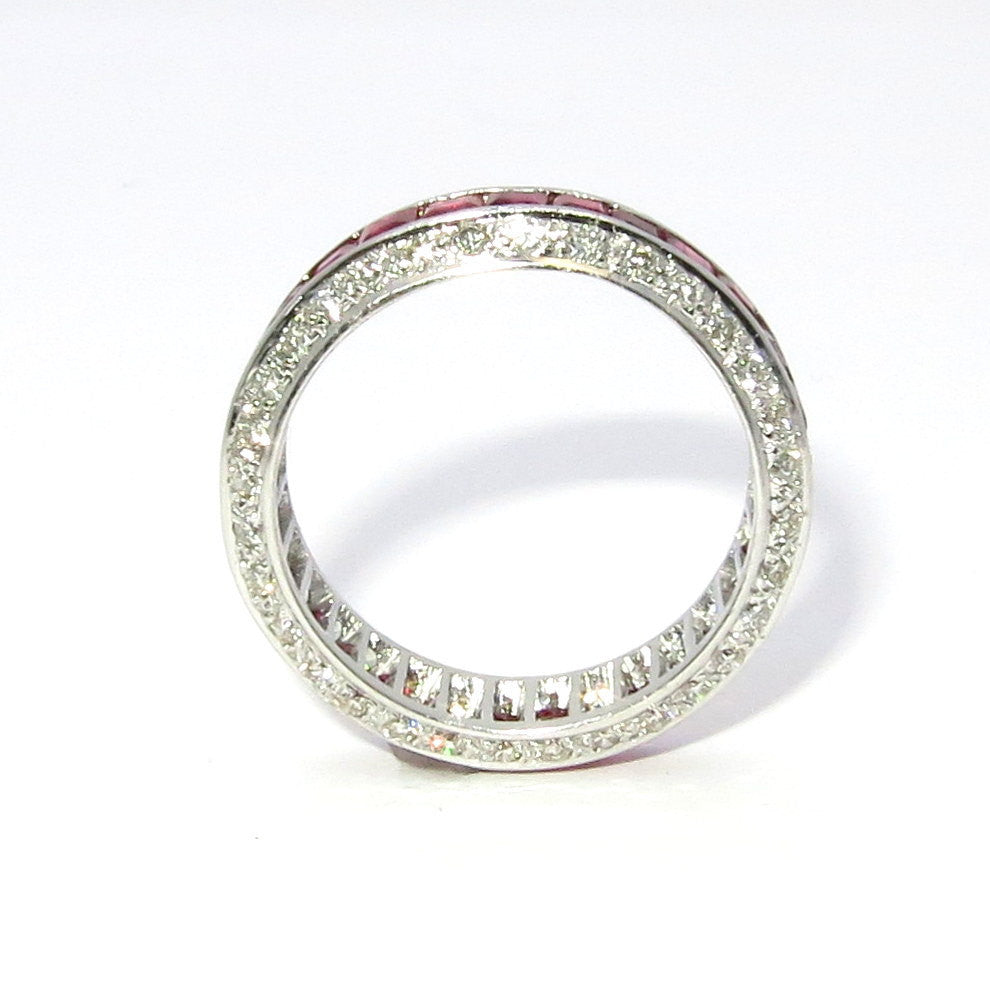 Ruby & Diamond Wedding Band, Unique Wedding Band