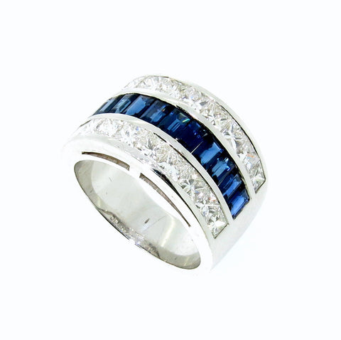 Wide Band Blue Sapphire Gemstone & Diamond Engagement/Wedding Band, Anniversary Ring, Cocktail Ring