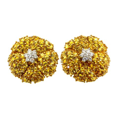 Yellow Sapphire Gemstone & Diamond Cluster Earrings