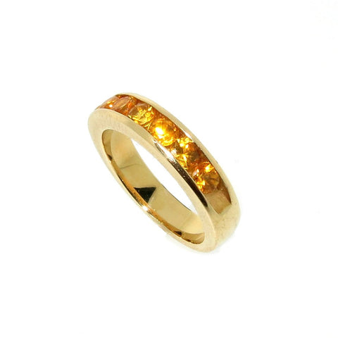 Yellow Sapphire Wedding Band, Unique Wedding Band, Cocktail Ring