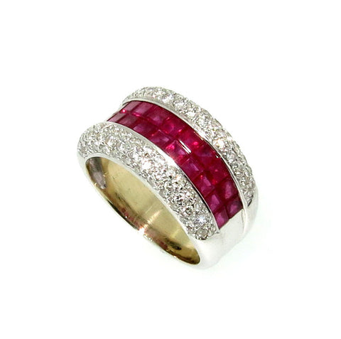 Wide Band Ruby Gemstone & Diamond Wedding Band/Engagement Ring, Anniversary Ring, Cocktail Ring