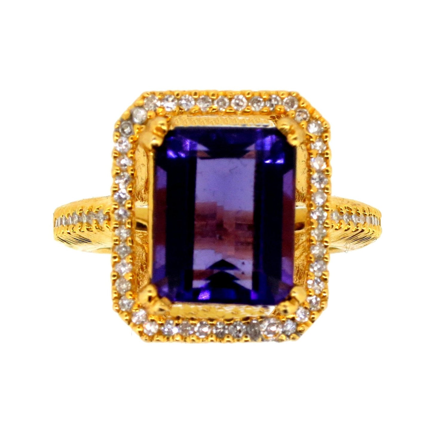 SALE! Amethyst Gemstone and Diamond Cocktail Ring, Alternative Engagement Ring