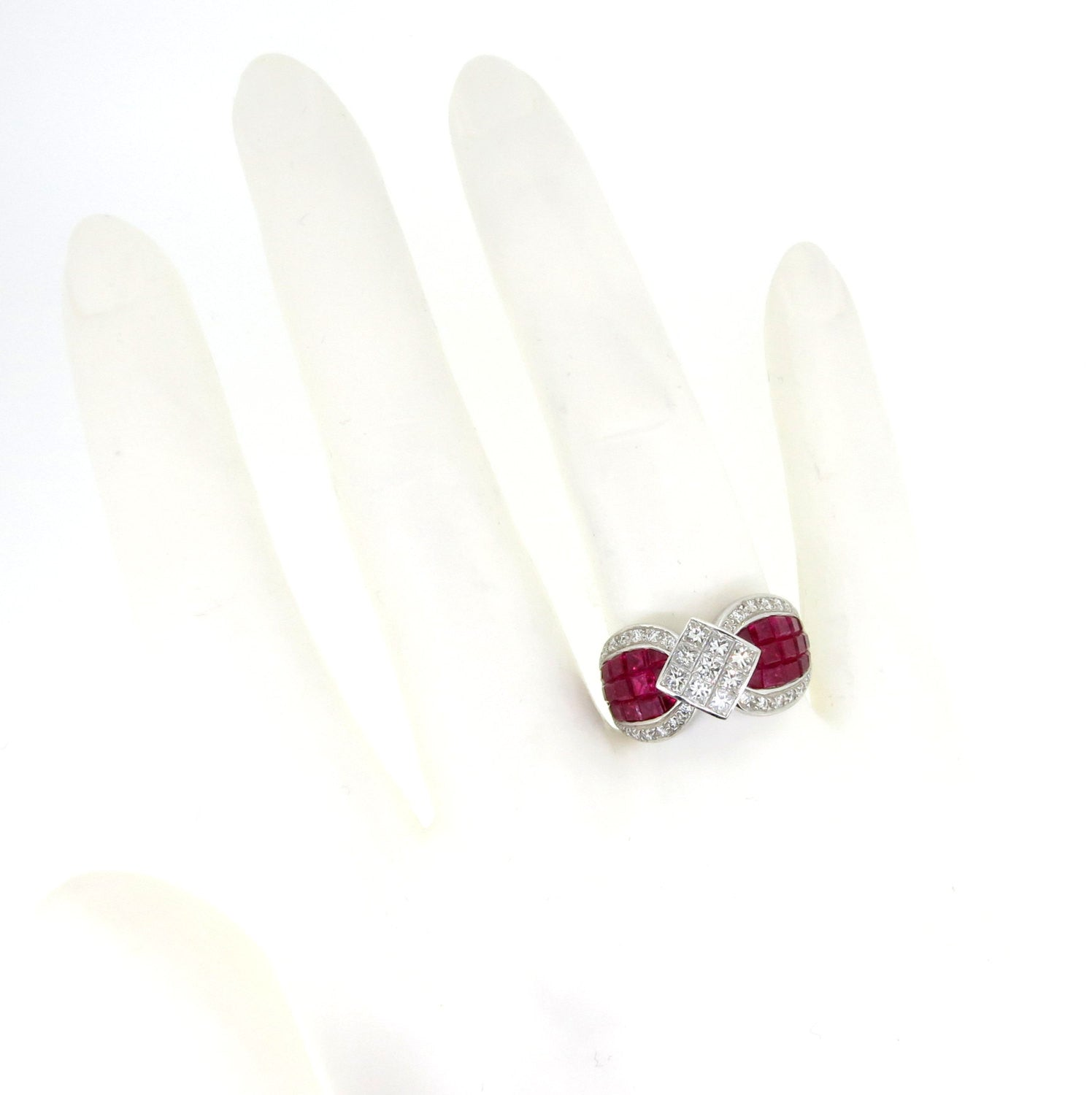 Ruby and Diamond Gemstone Engagement Ring, Cocktail Ring