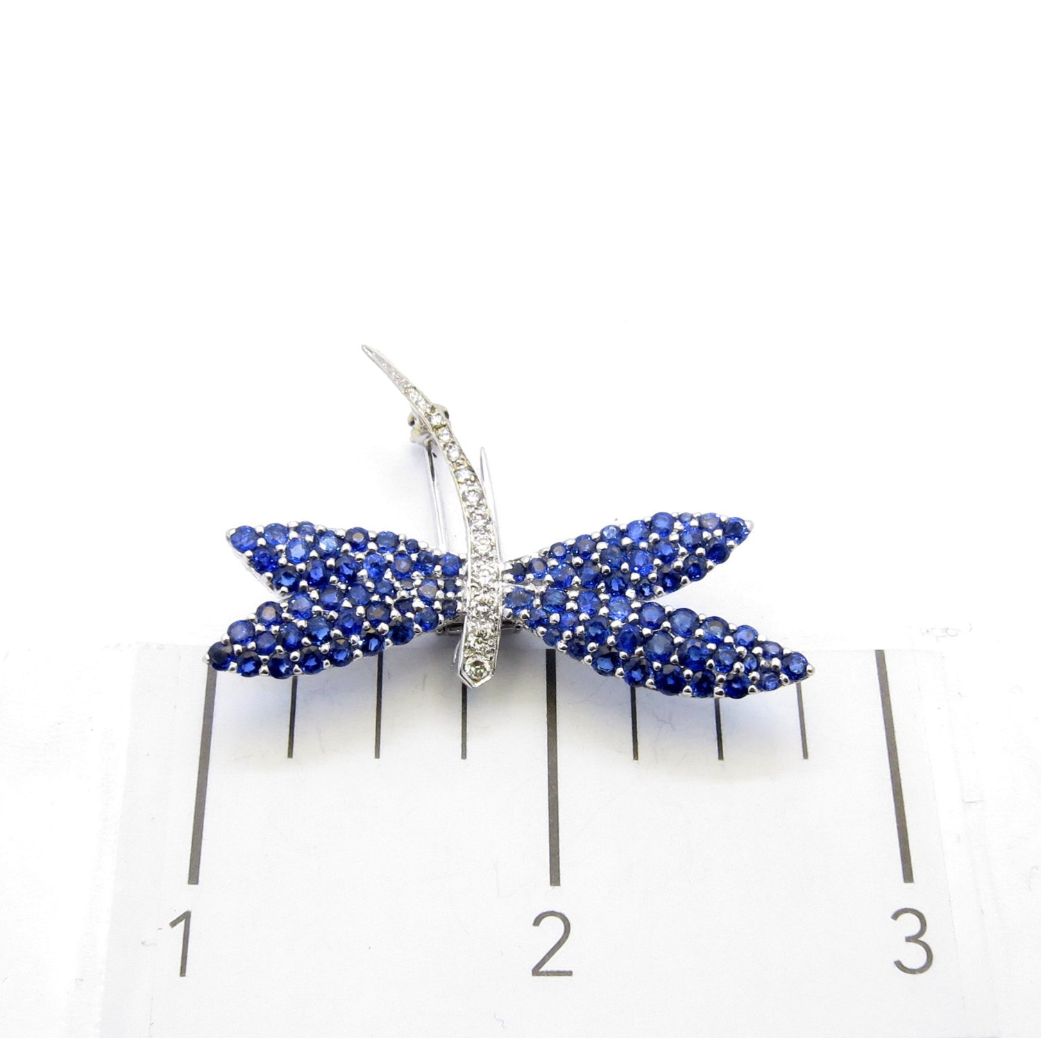 "Blue Sapphire & Diamond ""Dragonfly"" Pin Brooch"