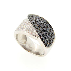 Wide Wedding Band, Black  Diamond & White Diamond Ring, Anniversary Ring, Cocktail Ring