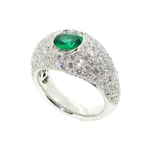 Columbian Emerald Engagement Ring, Bombé Ring, Anniversary Ring, Alternative Gemstone Engagement Ring Cocktail Ring