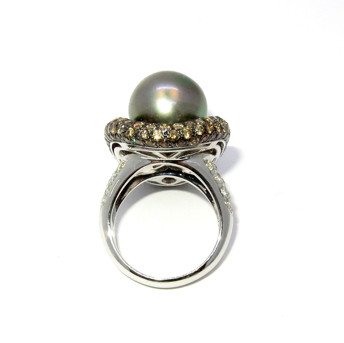 Tahitian Black Pearl & Diamond Cocktail Ring, Anniversary Ring