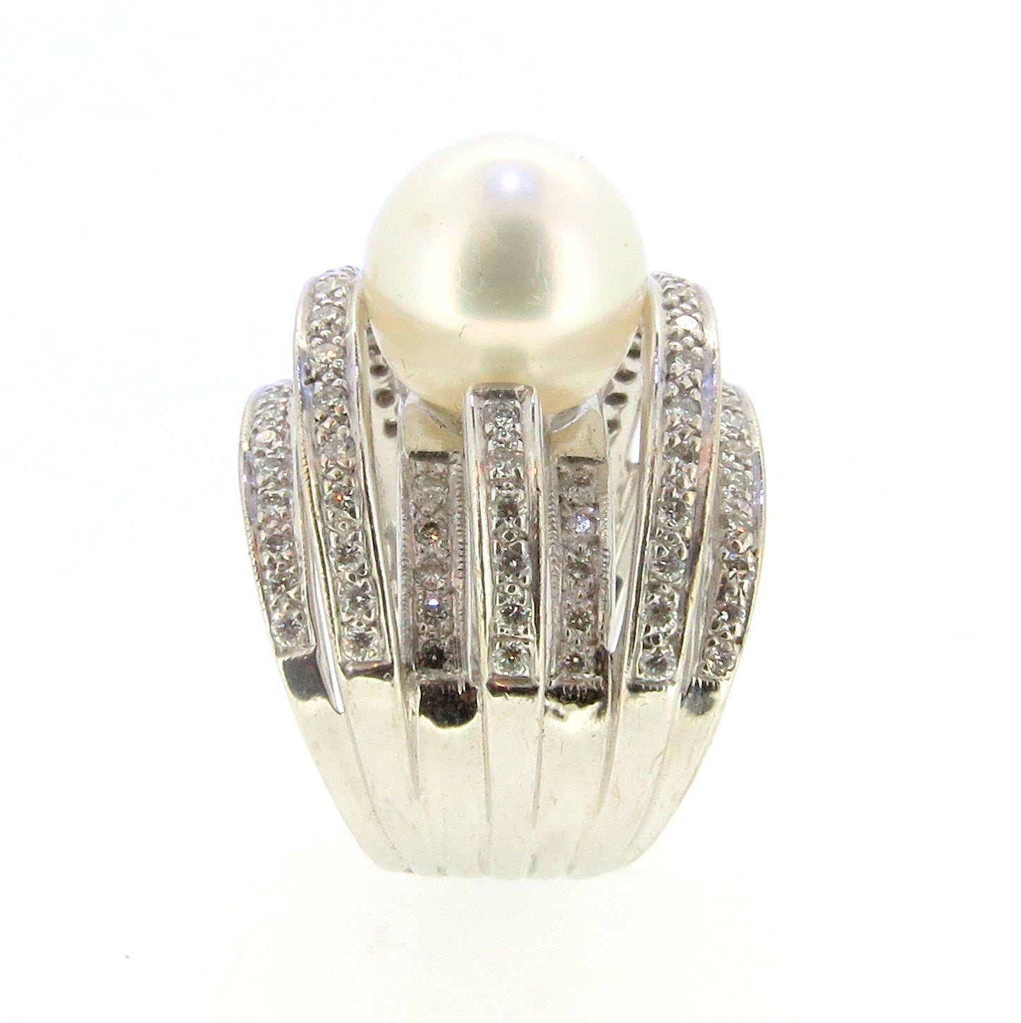 White Pearl & Diamond Cocktail Ring