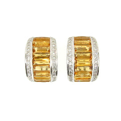 Citrine Gemstone & Diamond Huggie Earrings