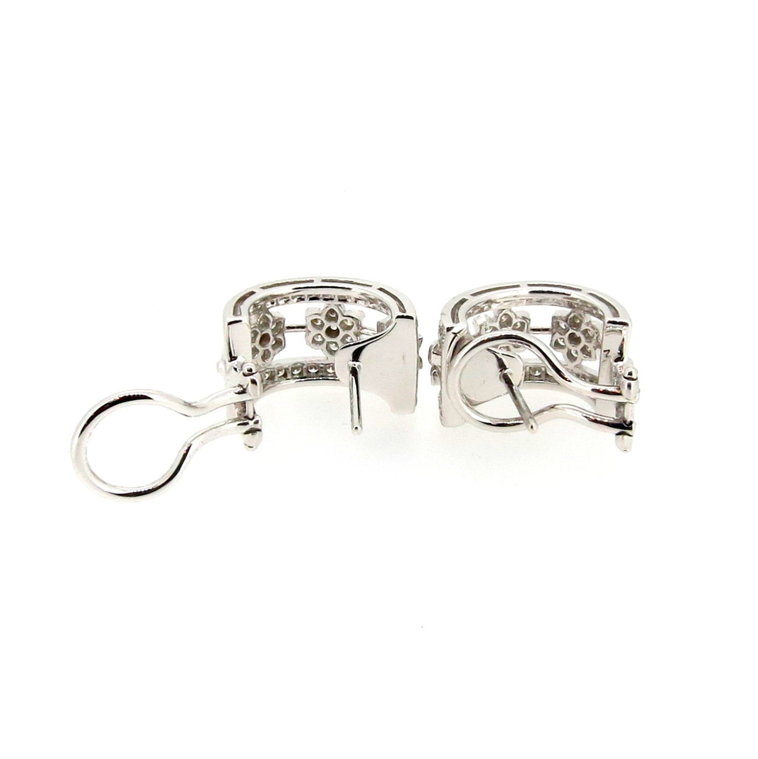 Diamond Flower Huggie Earrings