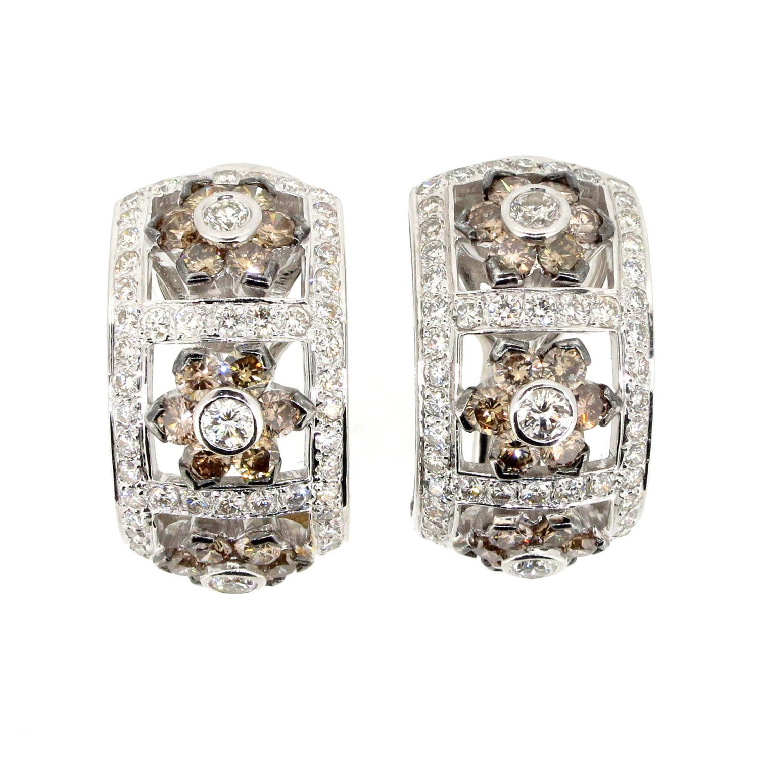 Champagne Diamond Huggie Earrings