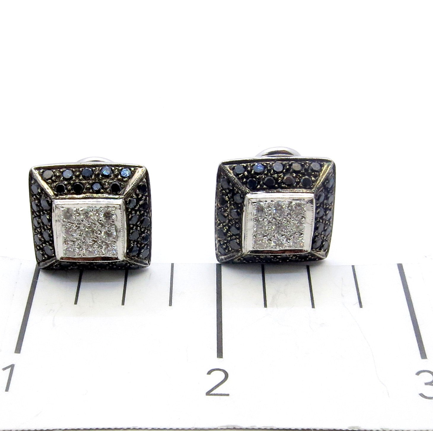 Black Diamond Square Earrings