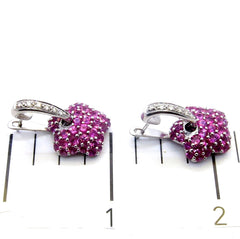 Pink Sapphire Gemstone & Diamond Earrings