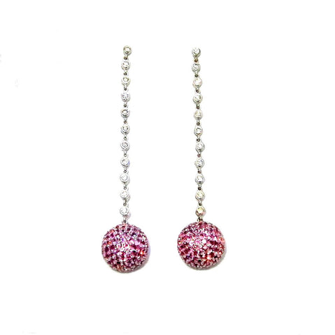 Pink Sapphire Gemstone & Diamond Dangle Earrings