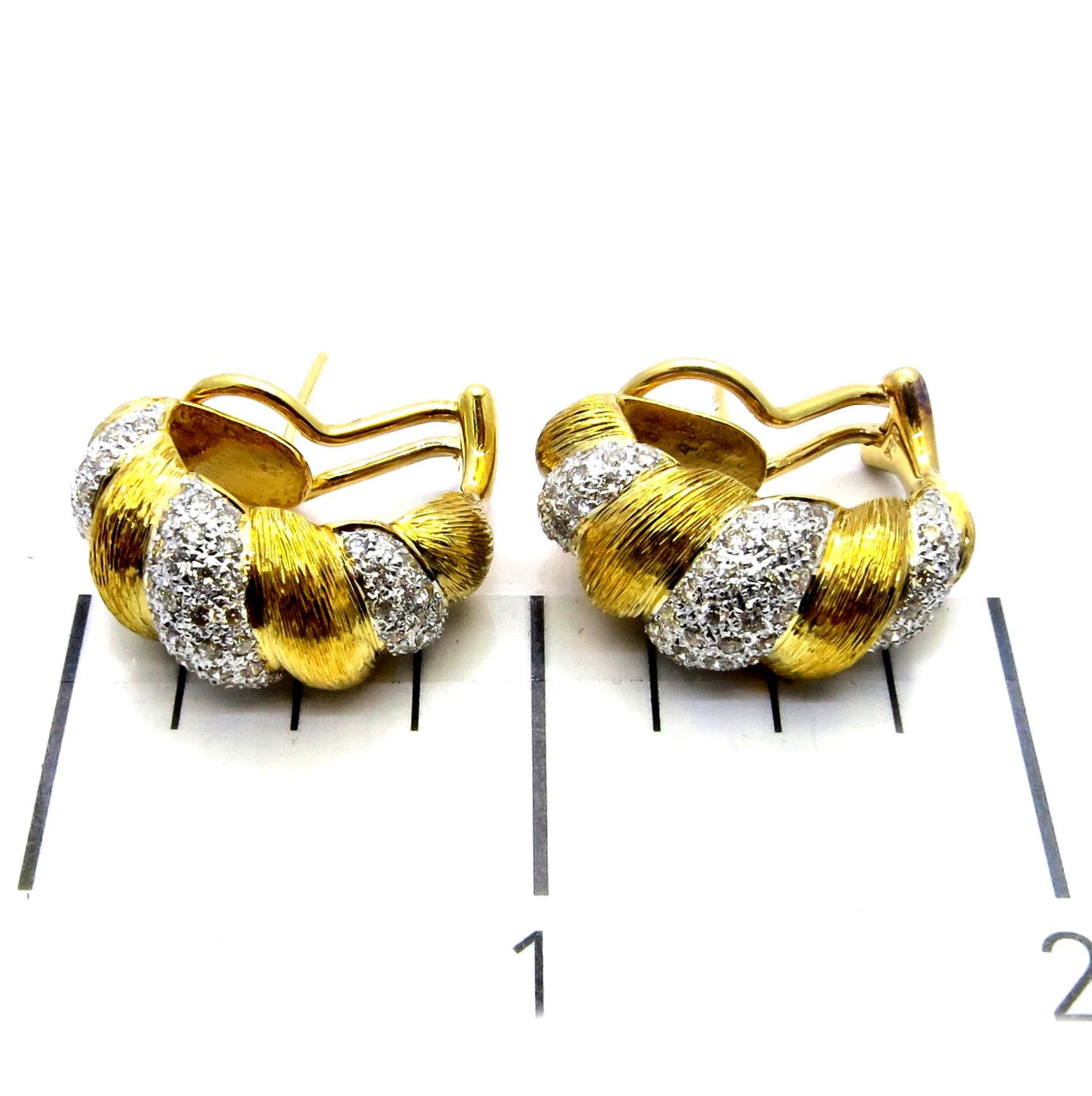 Unique Hand-Scraped Gold & Diamond Huggie Earrings