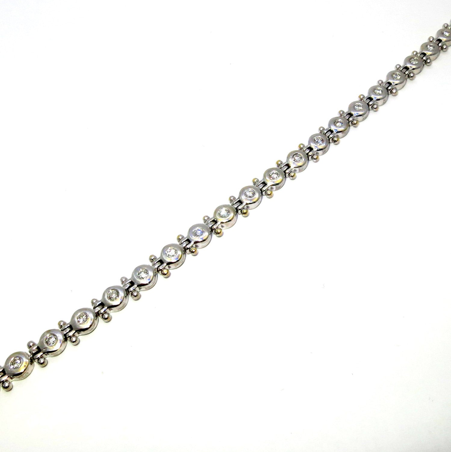Diamond Tennis Bracelet,  Unique Bezel Setting, 1.4 Carats on 14K Gold