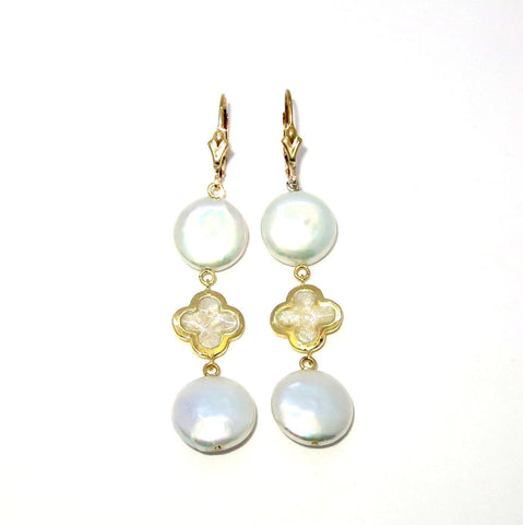 Pearl Drop Earrings With Enamel Clovers