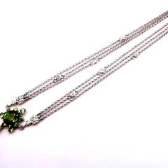 Tourmaline & Diamond Gemstone Necklace, Gemstone Pendant