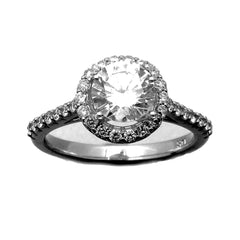 Unique Floating Halo 1 Carat Forever Brilliant Moissanite Engagement Ring, 14k Gold, .50 carat of Diamonds - FBV001