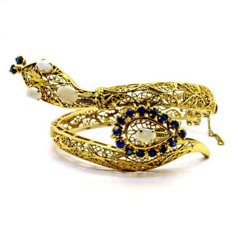 Vintage Snake Bangle Bracelet, Opal & Sapphire 14K Gold, Unique Filigree Design