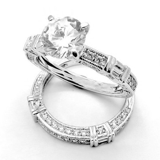 Art Deco Diamond Wedding Band & Engagement Ring Set, Setting for 1.25 Carat Round Center Stone, Anniversary Ring Setting, Semi Mount - 73109