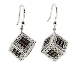 Champagne & White Diamond Cube Shaped Earrings