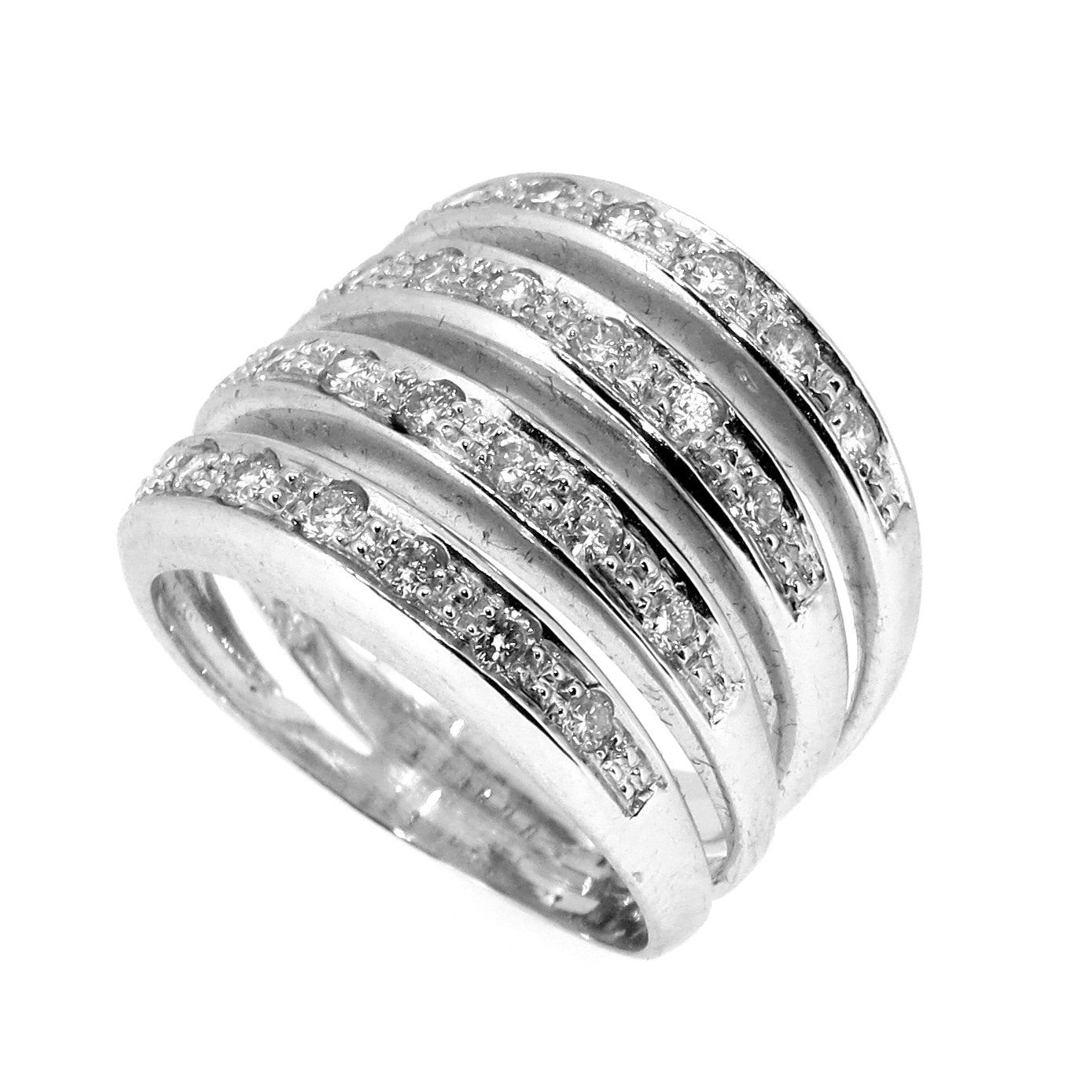 Four-Band Diamond Cocktail Ring/Wedding Band