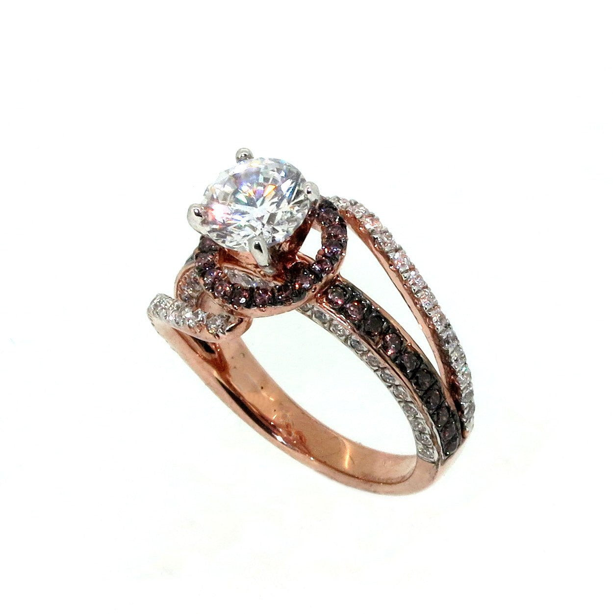 Unique Floating Halo Rose Gold Diamond, 1 Carat Forever Brilliant Moissanite, Brown Diamonds Engagement Ring, Anniversary - FB94619