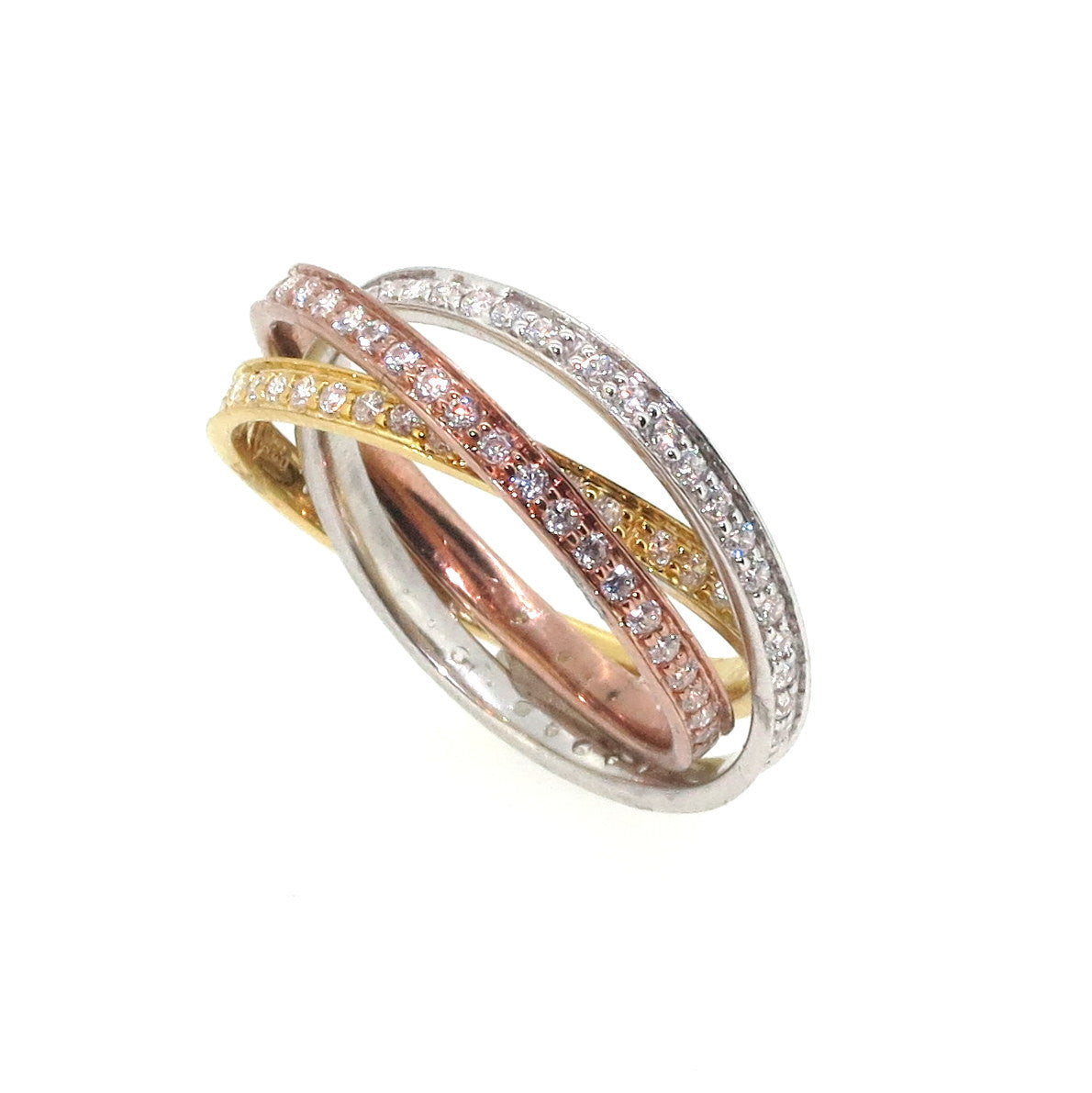 Triple Tone, Triple Wedding Band Intertwined Eternity Ring, Diamonds on Rose Gold, Yellow Gold & White Gold, Wedding/Anniversary Ring, Cocktail Ring - 69755