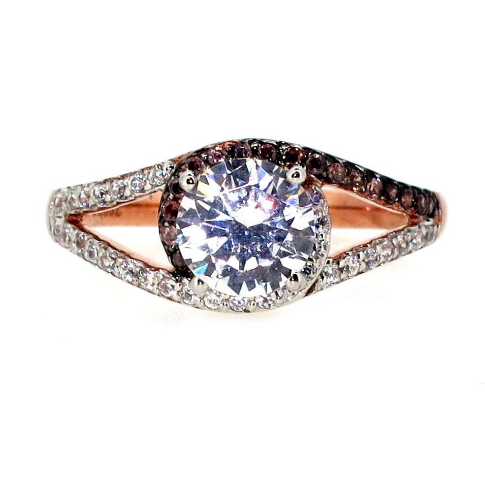 Halo Rose Gold, White & Brown Diamonds, 1 Carat Forever Brilliant Moissanite Center Stone, Engagement Ring - FB94618ER