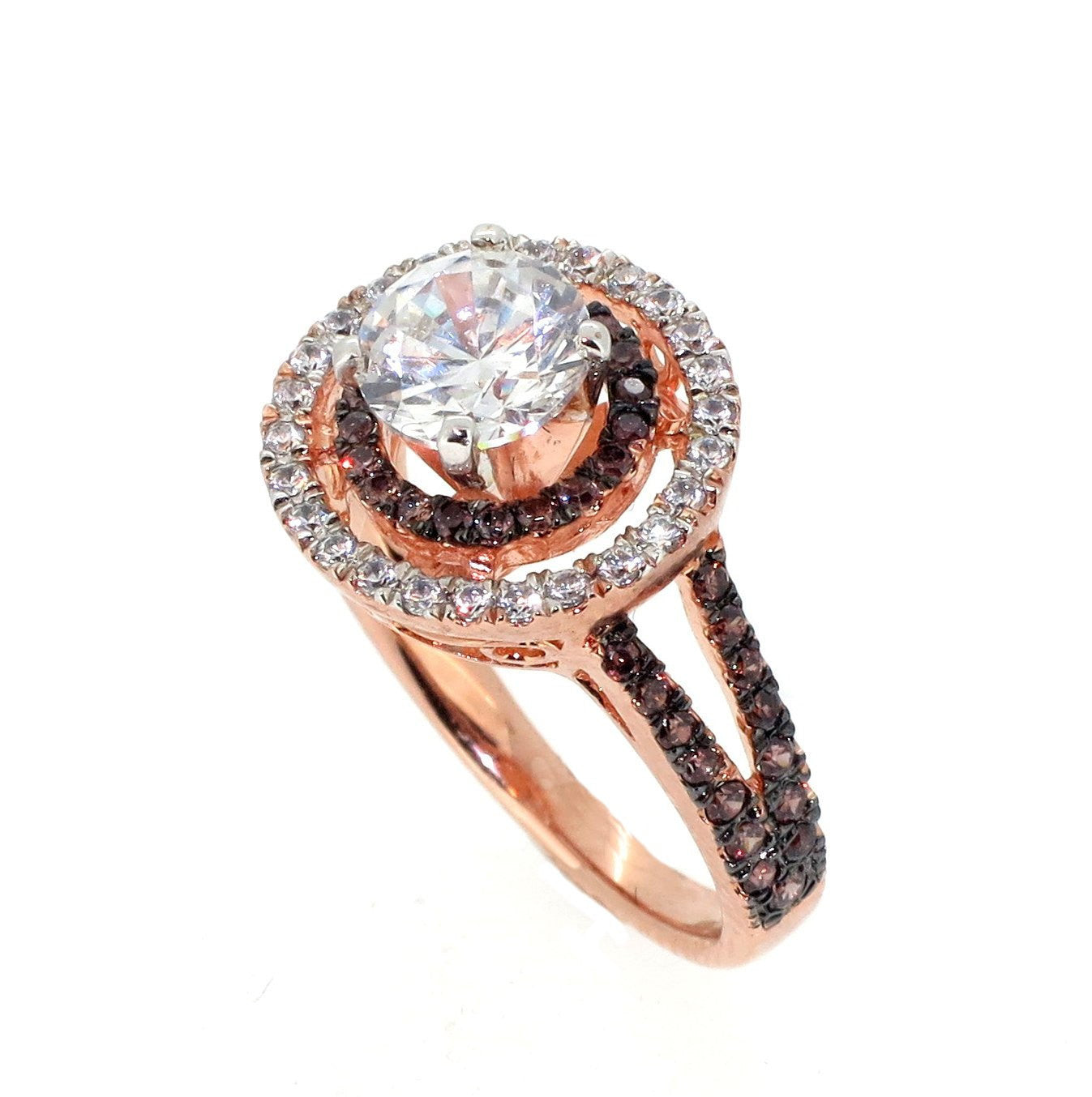 Floating Halo Rose Gold, White & Chocolate Color Brown Diamonds, 1 Carat Forever Brilliant Moissanite Engagement Ring, Anniversary Ring - FB94612