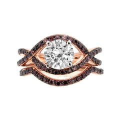 Unique Infinity Ring, Engagement / Wedding Set, Rose Gold, Fancy Color Brown Diamonds, 1 Carat Forever Brilliant Moissanite - FB94615