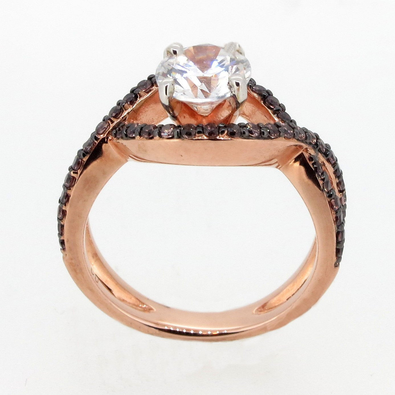 Unique Infinity Ring, Engagement / Wedding Set, Rose Gold, Chocolate Color Brown Diamonds, 1 Carat Forever Brilliant Moissanite - FB94615