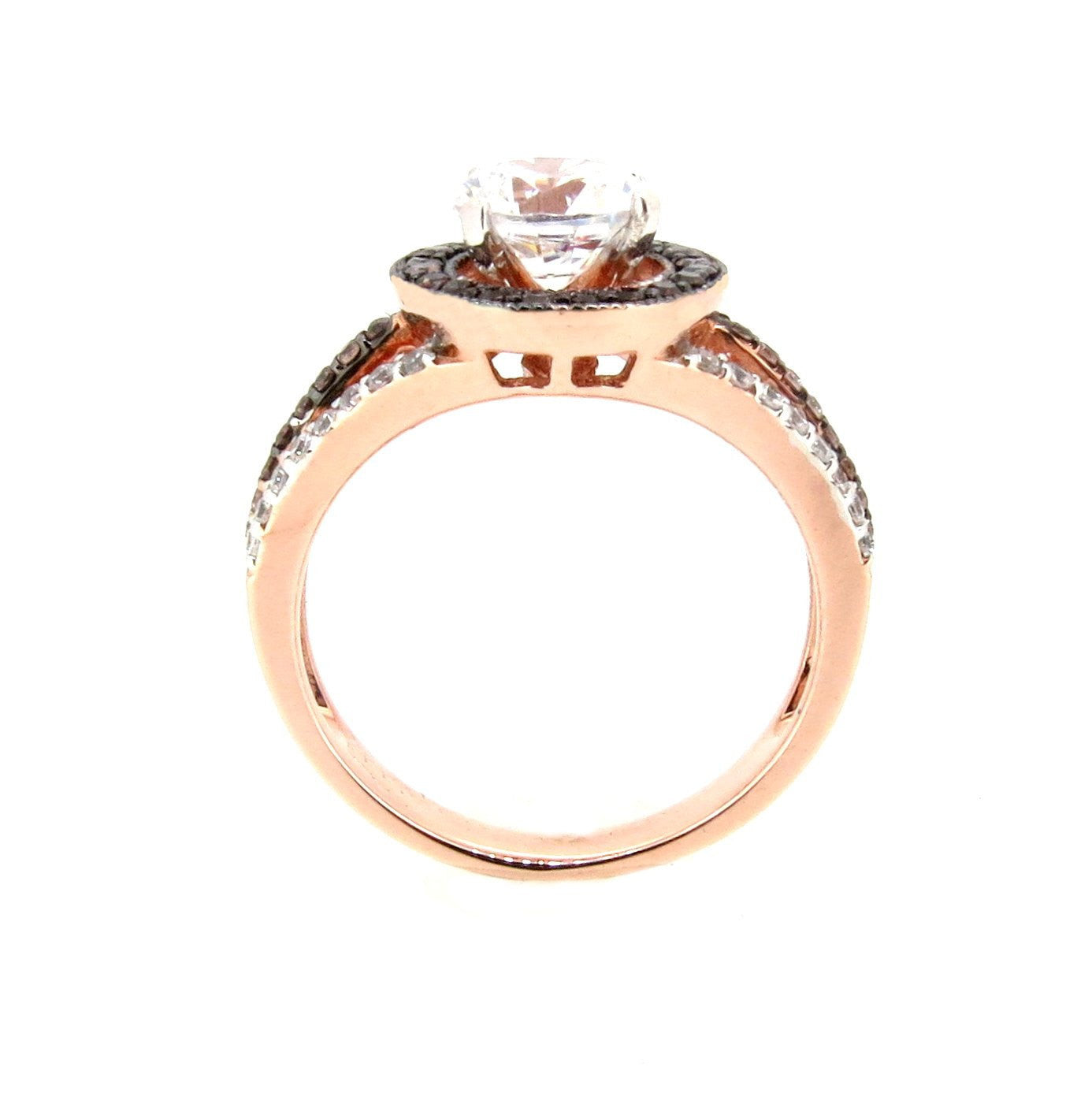 1 Carat Forever Brilliant Moissanite Engagement Ring, Floating Halo Rose Gold, White & Chocolate Color Brown Diamonds, Anniversary Ring - FB94657