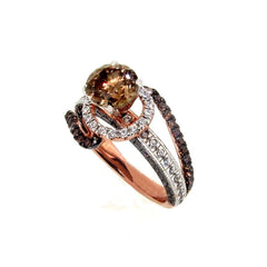 1 Carat Chocolate Brown Diamond Unique Floating Halo, Rose Gold, Brown & White Diamond Engagement Ring, Anniversary Ring - BD94649