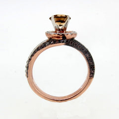 1 Carat Chocolate Brown Smoky Quartz Unique Floating Halo, Rose Gold, Brown & White Diamond Engagement Ring, Anniversary Ring - SQ94649