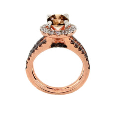 1 Carat Chocolate Brown Smoky Quartz White & Chocolate Brown Diamond Accents Stones, Floating Halo Rose Gold Engagement Ring, Anniversary Ring - SQ94654