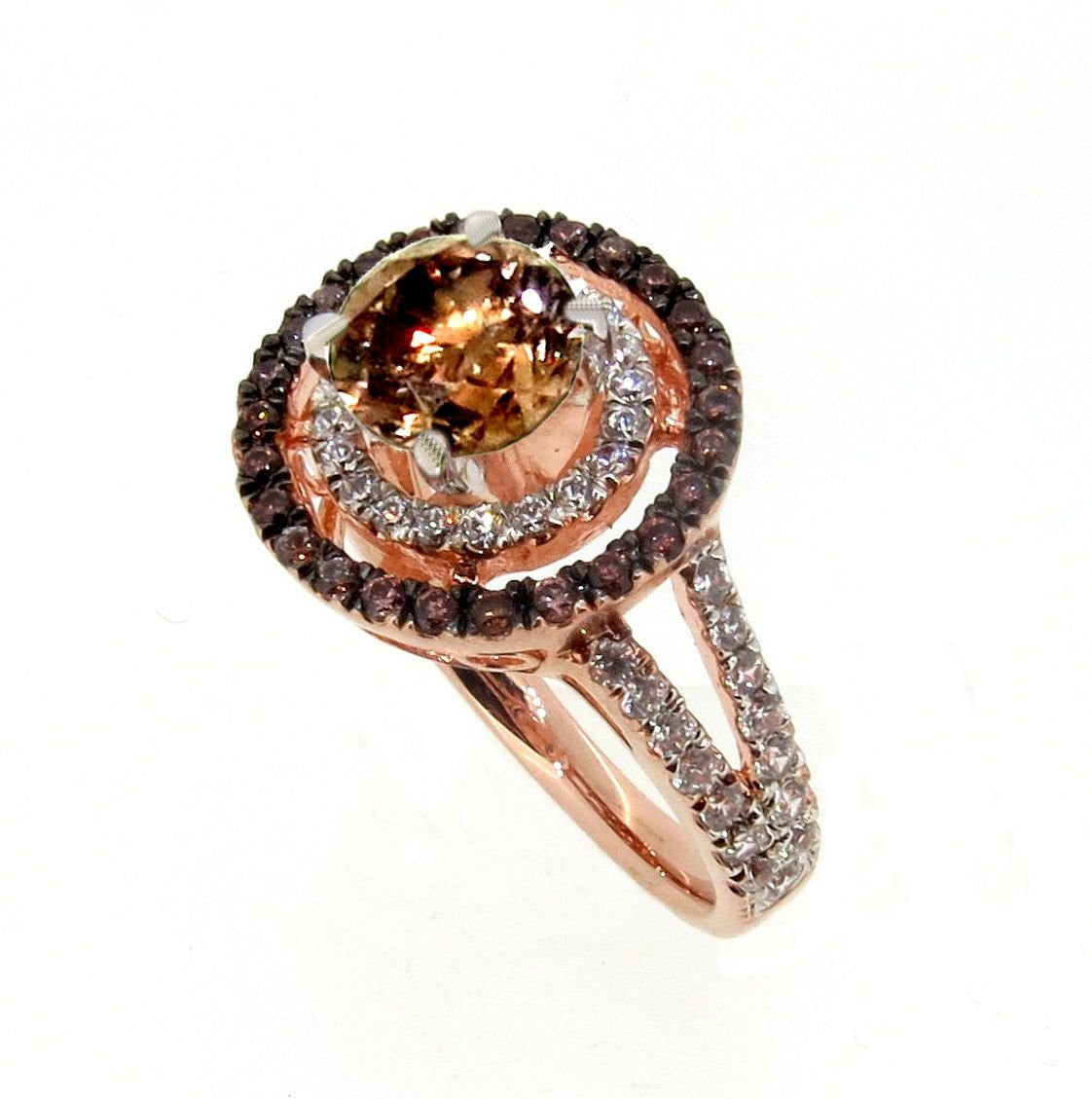 1 Carat Chocolate Brown Smoky Quartz White & Chocolate Brown Diamond Accent  Stones, Floating Halo