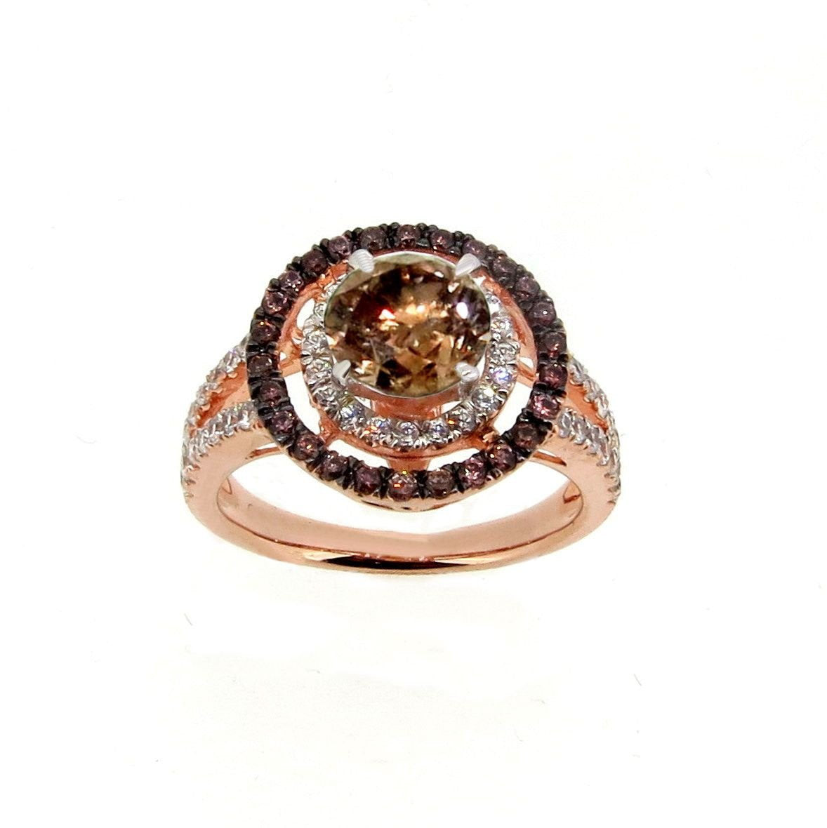 1 Carat Chocolate Brown Smoky Quartz White & Chocolate Brown Diamond Accent Stones, Floating Halo Rose Gold Engagement Ring, , Anniversary Ring - SQ94640