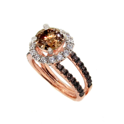 1 Carat Fancy Brown Smoky Quartz White & Fancy Brown Diamond Accents Stones, Floating Halo Rose Gold Engagement Ring, Anniversary Ring - SQ94654