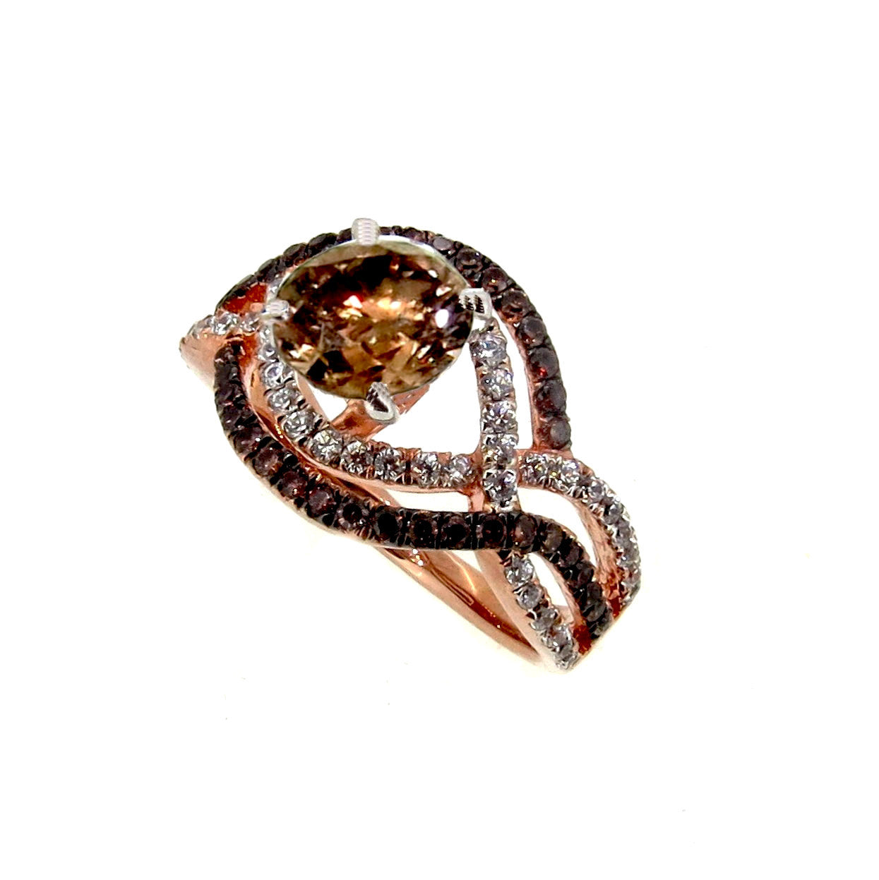 Unique Halo Infinity 1 Carat Fancy Brown Smoky Quartz Engagement Ring with Rose Gold, White & Brown Diamond Accent Stones, Anniversary Ring - SQ94645
